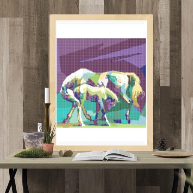 Point de croix, tutoriel pop art , le cheval, PDF