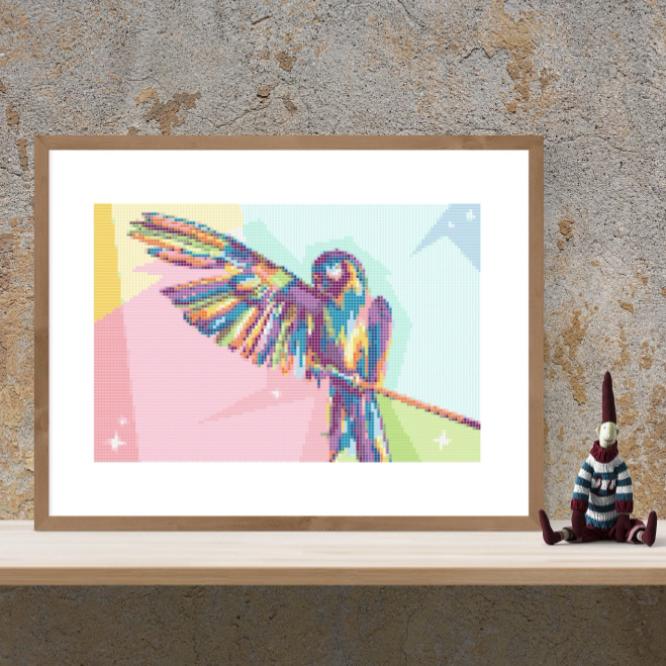 Point de croix, tutoriel perroquet pop art, PDF