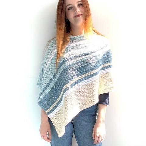 Into the Blue Poncho knitting pattern pdf - adult - easy