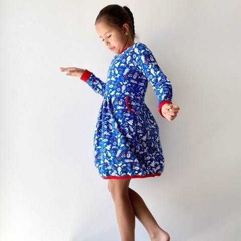 Girls long sleeve balloon dress with pocket sewing pattern