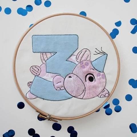 Stickdatei Dino 3. Geburtstag Doodle Set