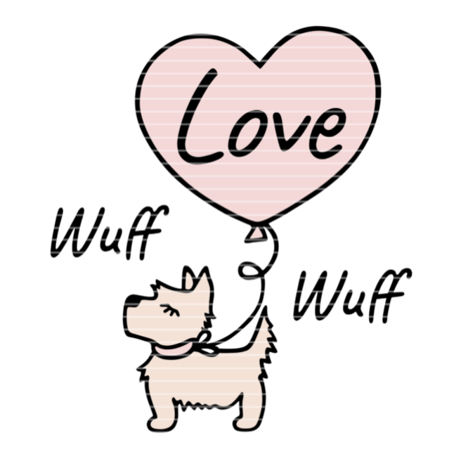 """Cutting file """"Terrier with heart"""" SVG DXF"""