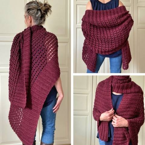 Easy Crochet Shawl Pattern (Wrapped In Red Wrap Shawl) at Makerist