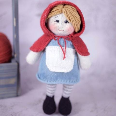 Doll Knitting Pattern - Red Riding Hood Layla