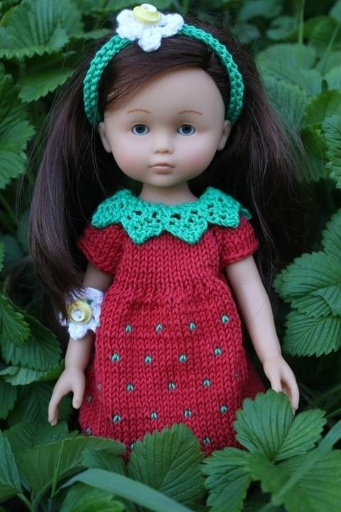 Habit Poupée 32-35cm robe fraise - tricot