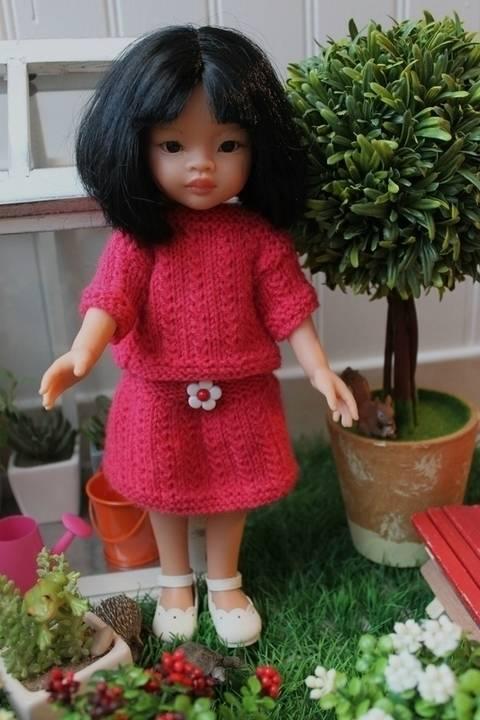 Habit Poupée 32-35cm ensemble jupe&pull - tricot