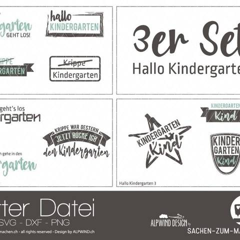 "Plotter-Datei ""Hallo Kindergarten"" (3er-Set)"