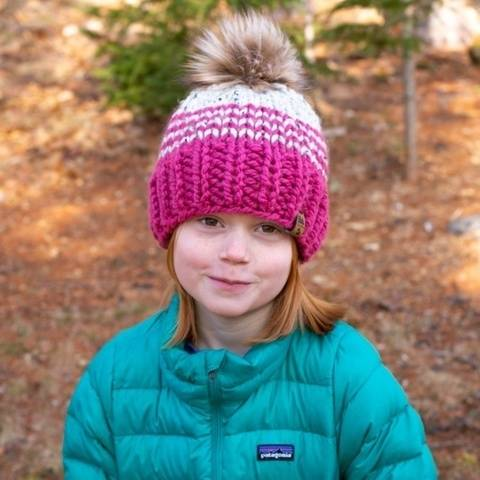 Pinstripe Color Block Pompom Winter Hat Baby Children Women