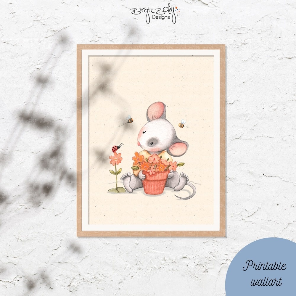 Poster Mouse with ladybug