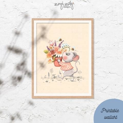 Poster Mouse with flower pot