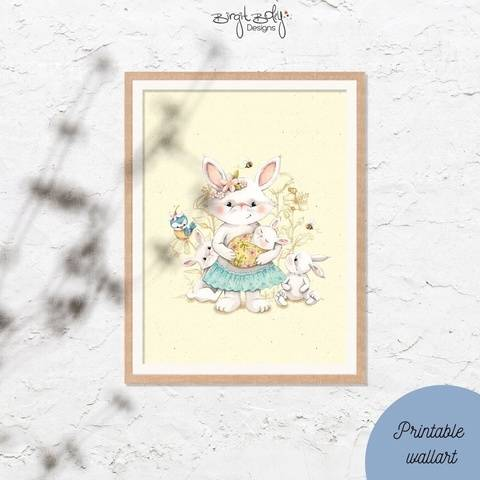 Poster Bunny mom with baby