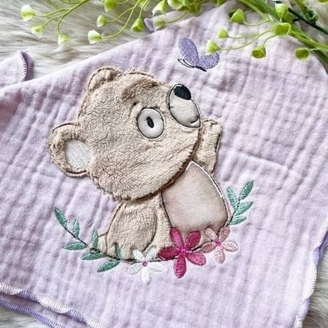 Stickdatei Bär mit Schmetterling Doodle Set