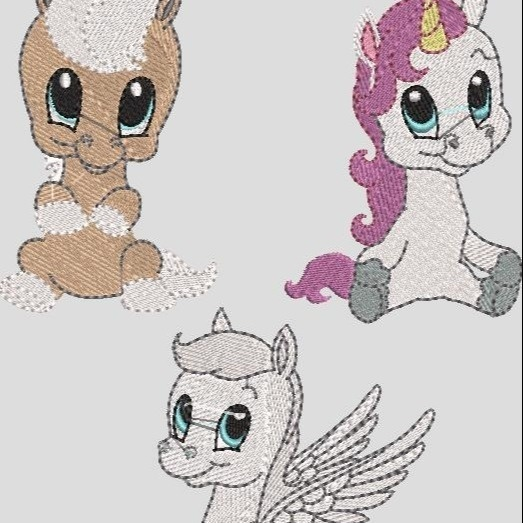 Stickdatei Pferd Pony Einhorn Pegasus Set 3
