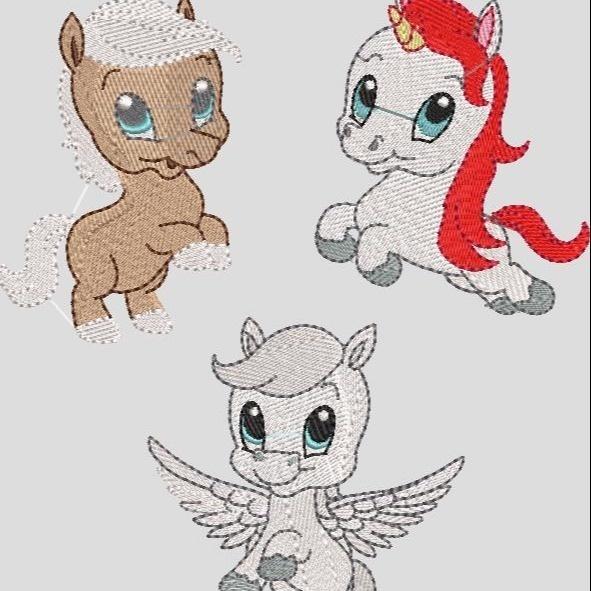 Stickdatei Pferd Pony Einhorn Pegasus Set 4