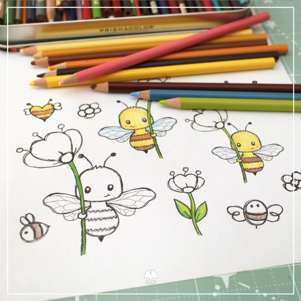 Biene mit Blume - Digistamp Set