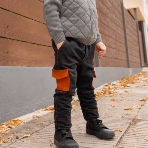 Kids children cargo jogger pants with pockets sewing pattern