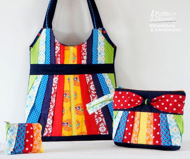 Taschenset: Schultertasche, Clutch und Geldbörse mit Plissee & Schleife bei Makerist - Bild 1