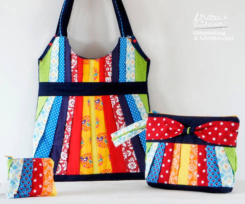 Taschenset: Schultertasche, Clutch und Geldbörse mit Plissee & Schleife