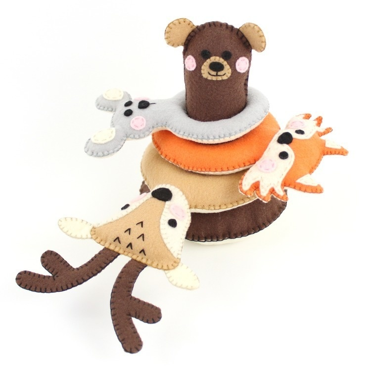 Stacking Toy for Toddlers, Woodland Animals Pattern