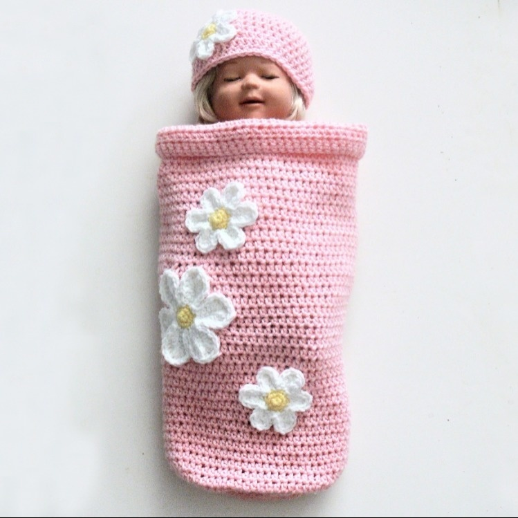 Baby Girl Flower Cocoon and Hat # 357