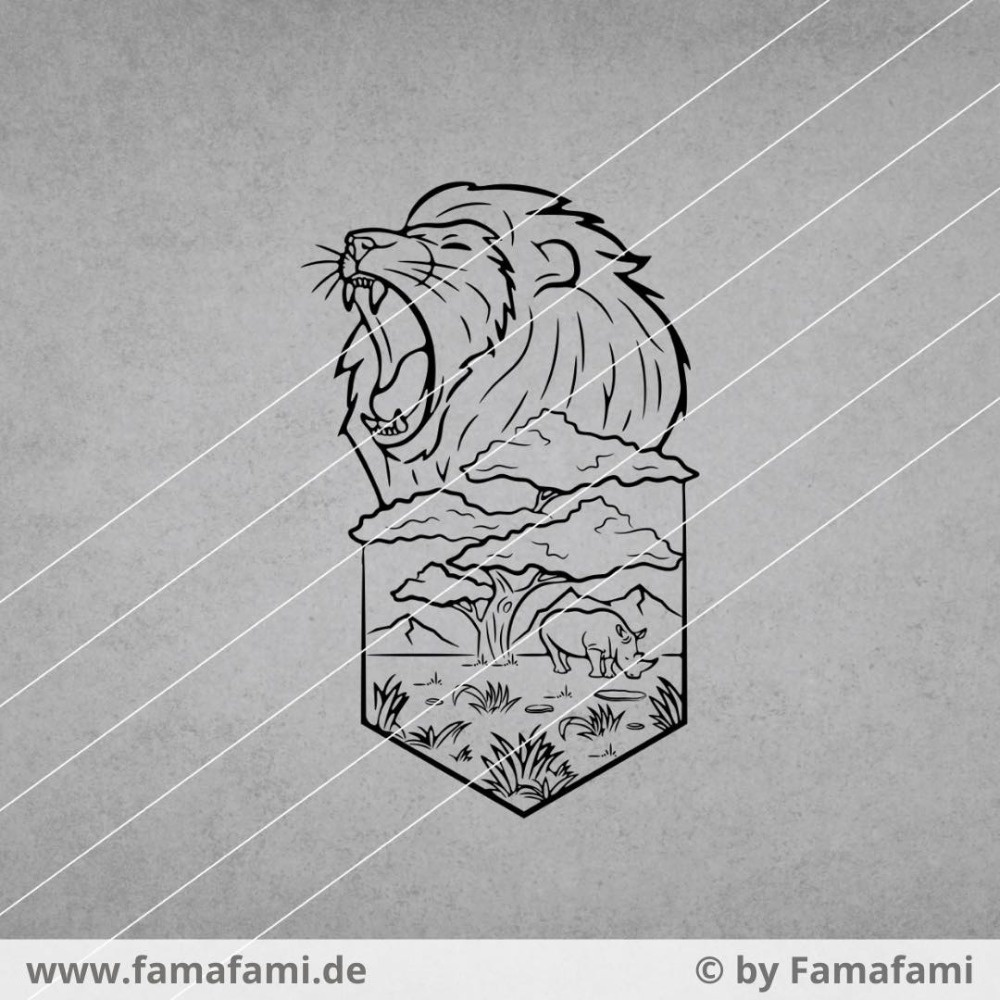 """CUTTING FILE """"LION AND RHINO"""" - SVG DXF PNG - FAMAFAMI"""