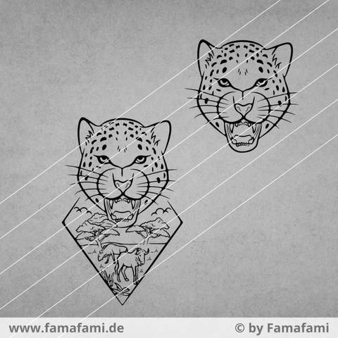 """CUTTING FILE """"LEOPARD AND GNUS"""" - SVG DXF PNG - FAMAFAMI"""