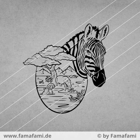 """CUTTING FILE """"ZEBRA AND HIPPOS"""" - SVG DXF PNG - FAMAFAMI"""