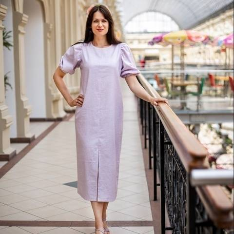 Dress with puffy sleeves PDF sewing pattern, 34-54 EU