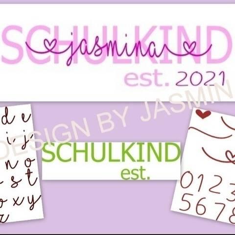 Plotterdatei Schulkind, Einschulung EST SVG mit Schrift Love bei Makerist