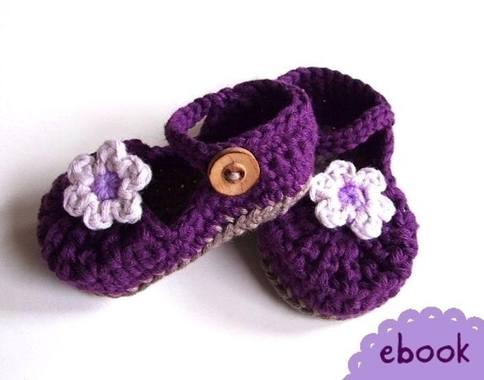 ❤ Häkelanleitung ❤ Baby Mary Janes Purple bei Makerist - Bild 1