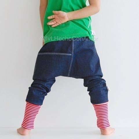 Girls and boys harem pants with pocket sewing pattern
