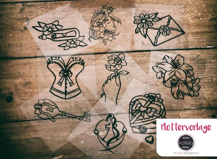 "Plottervorlage Tattoo-Liebelei ""Liebe"" komplett  bei Makerist - Bild 1"
