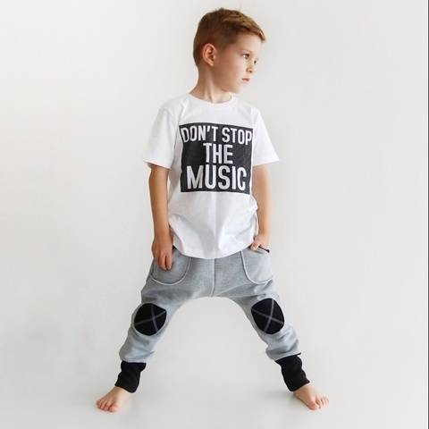 Boys and girls knee patched harem pants sewing pattern