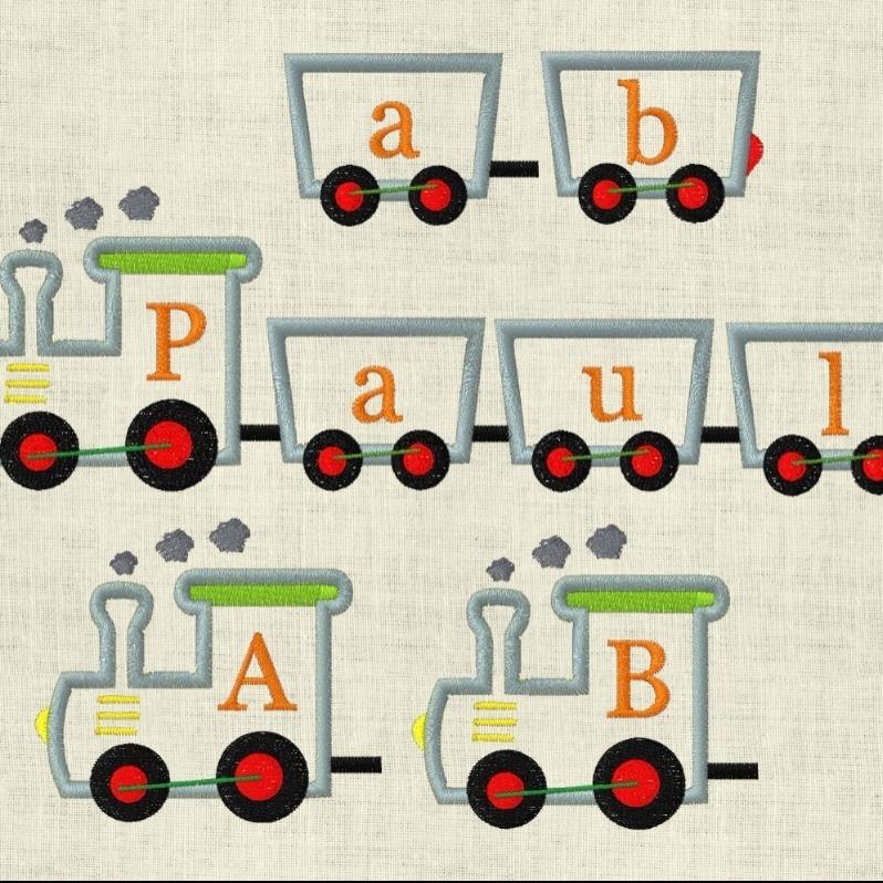Stickdatei Eisenbahn ABC Buchstaben Geburtstag Set 640