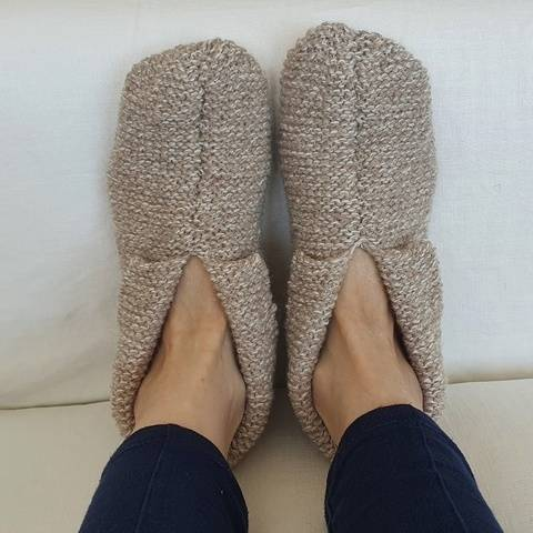 8ply garter stitch slippers with cuff - Storm
