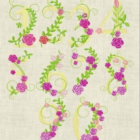 Stickdatei  Monogramm Zahlen Blumen 642