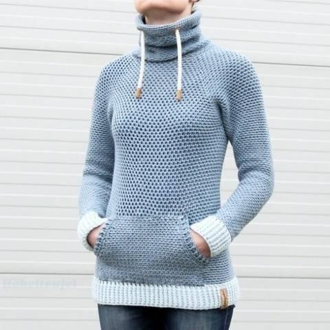 """Crochet pattern: Hoody """"Jeans"""", Size S-XXL"""