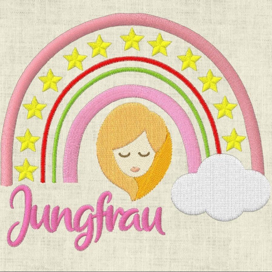 Stickdatei  Sternzeichen Jungfrau Regenbogen Horoskop