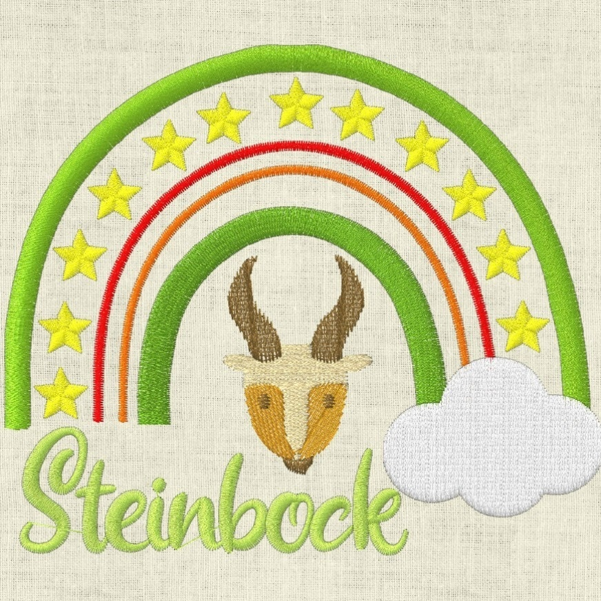 Stickdatei  Sternzeichen Steinbock Regenbogen Horoskop