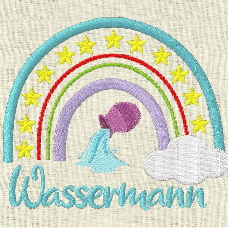 Stickdatei  Sternzeichen Wassermann Regenbogen Horoskop
