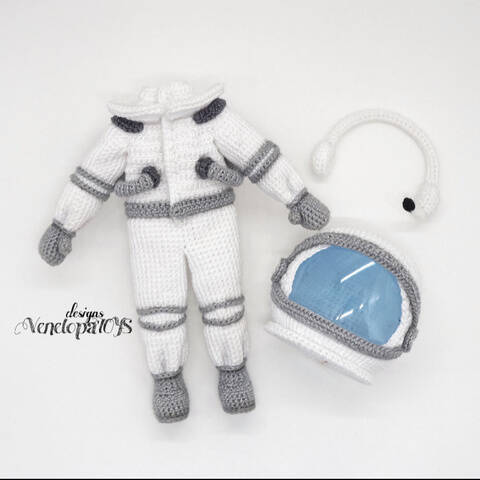 Häkelanleitung Kostüm Astronaut für Puppe