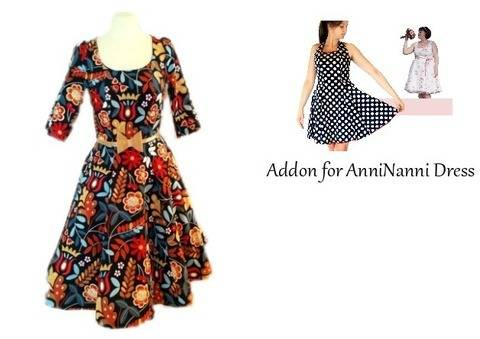 pdf sewing pattern Sleeve and Maxi-skirt Addon for AnniNanni Dress at Makerist