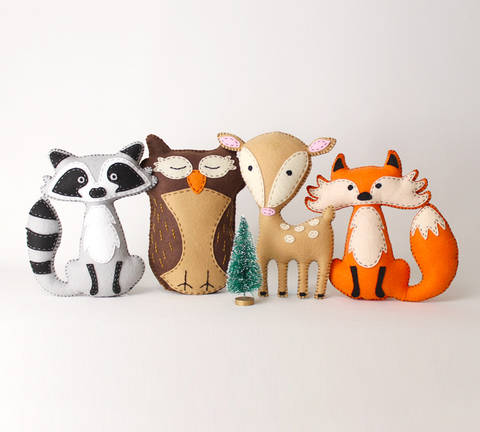 Woodland Forest Animals Set of Four: Raccoon, Owl, Deer, and Fox at Makerist