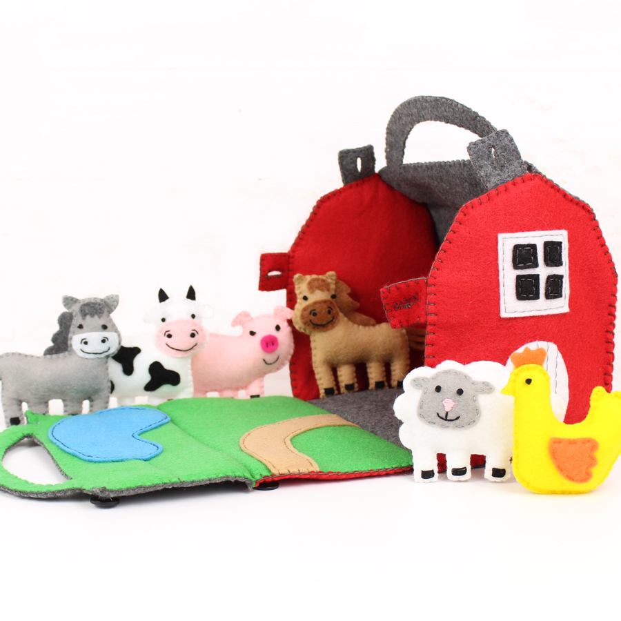 Felt Barn and Mini Farm Animals