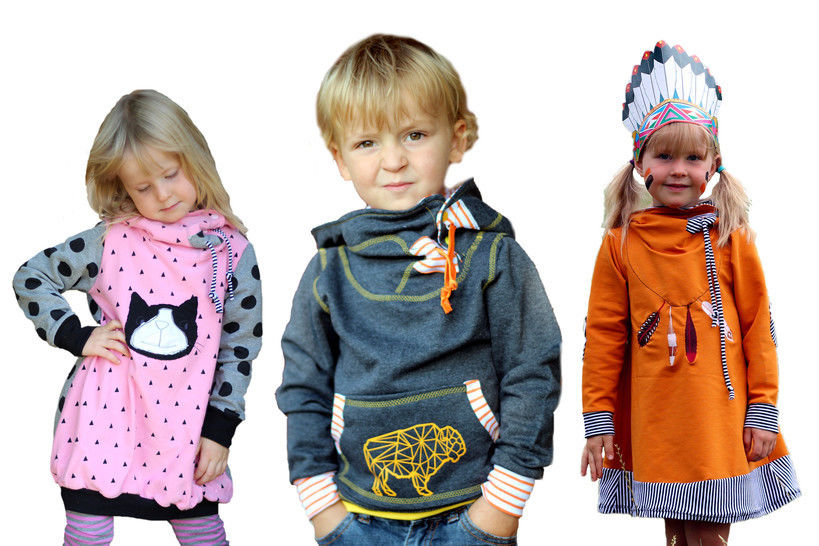 pdf sewing pattern kids hoody jumper and dress - AnniNanni Snugly Kid at Makerist - Image 1