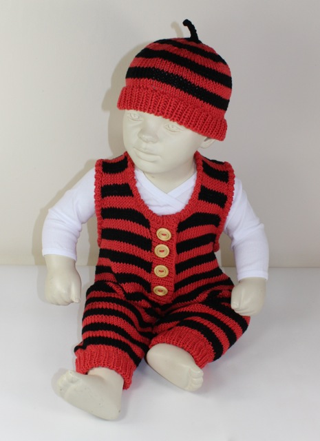 Baby Stripe Dungarees and Beanie Hat