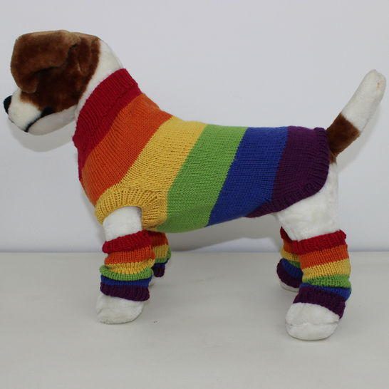 Rainbow Dog Coat and Legwarmers CIRCULAR knitting pattern at Makerist - Image 1