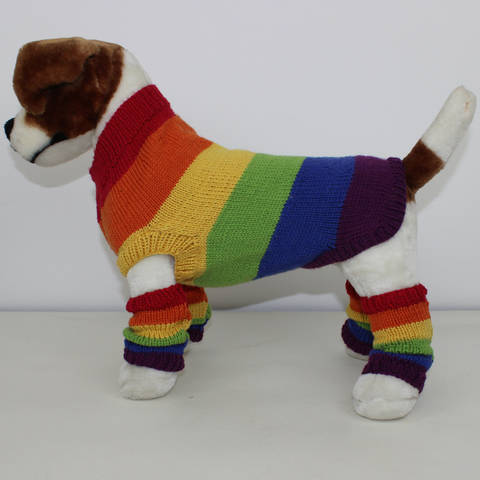 Rainbow Dog Coat and Legwarmers CIRCULAR knitting pattern