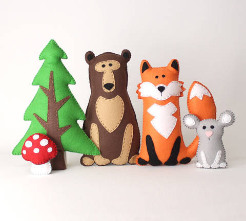 Woodland Animal Pattern Set: Bear, Fox, Tree, Mouse & Mushroom