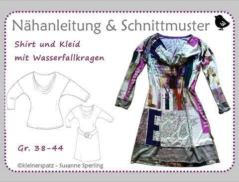 Kleid und Shirt mit Wasserfallkragen